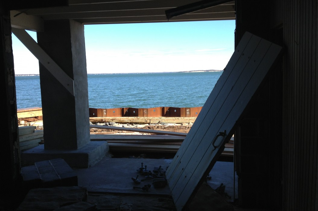 """So there wasn't really a front to the boathouse Post Storm, but I choose to think of it as a new """"unobstructed view!"""""""